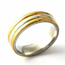 Mens Promise Stainless Steel Gold Plated vintage Band Ring Size 8 9 10 11 12