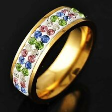 Womens Yellow Gold Filled Interval Rainbow Crystal love Band Ring Size 6 7 8