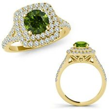 1 Carat Green Diamond Double Cushion Halo Engagement Band Ring 14K Yellow Gold