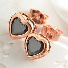 Authentic 9K Rose Gold Filled Crystal Heart Stud Earrings 5 Colour free shipping