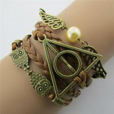 Vintage Harry Potter Bracelet Retro Snitch Angel Wings Braided Red Leather BH