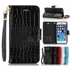 Glossy Crocodile PU Leather Flip Card Pocket Wallet Stand Case Cover For iPhone