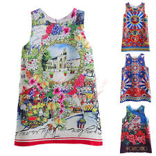 Girls Party Floral Dress 2016 Summer Clothes For Kids Flower Princess Costume