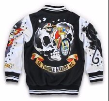 Kids Alternative Tattoo Biker Jacket Six Bunnies Bomber Varsity Skull Punk Rock