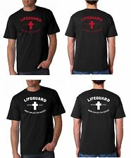 LIFEGUARD SHIRT MINE WALKS ON WATER T-Shirt JESUS CHRIST CHRISTIAN BLACK frt-bk