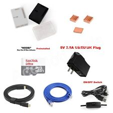 Raspberry Pi 3 Heatsink Power Supply HDMI Network Cable TF Basic Kit ABS Case