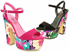WOMENS GIRLS SEXY BLOCK HEEL ANKLE STRAP SANDALS TOE STRAPPY PARTY SHOES SIZE