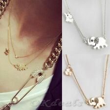 Elephant Family Stroll Design Stylish Women Charming Crystal Chain Necklace TGS