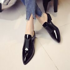 Casual Womens Patent Leather Slippers Pointy Toe Flat Shoes loafers Slip On