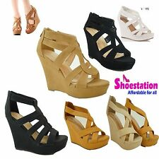 Womens Fashion Platform Strappy Open Toe Wedge Pad Sandal Shoes NEW Size 5 – 10