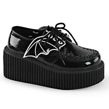 Demonia Creeper-205 Shiny Black Glitter Vinyl Bat Platform Shoes - Gothic,Goth,P