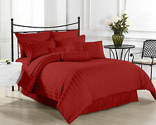 USA (BURGUNDY STRIPE) 1000TC COMPLETE BEDDING COLLECTION 100% COTTON ALL SIZE