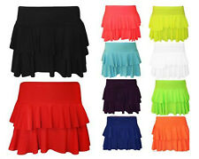 New Ladies Girls Plain Printed Sexy Rara Mini Skirt Women Fluorescent Club Party