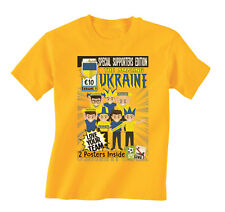 Kids Amazing UKRAINE Football Comic T-Shirt Retro Euro 2016
