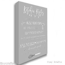 Kitchen Rules Family Quote - Mealtime Grey Canvas Print Picture Wall Art Sign