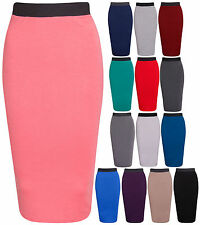 NEW LADIES PLAIN OFFICE WOMENS STRETCH BODYCON MIDI PENCIL SKIRT PLUS SIZE 8-22