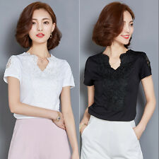 Summer Fashion Womens Lace Embroidery Tops Loose V-Neck Short Sleeve Blouse Tops