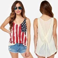 Women Summer Sleeveless USA Flag Print Camisole Vest Cute Tank Top Casual Shirt