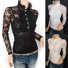 Elegant Victorian Lace Floral Ruffled High Neck Long Sleeves Twinset Blouse