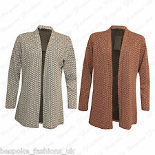 Ladies Women's Plus Size Diamond Textured Open Cardigan Blazer Jacket Coat 14-28