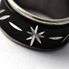 Black Stainless Steel womens mens Flower Lady Rings fashion Size 7 8 9 10 11 12