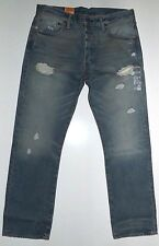 Levis 501 Mens Jeans Blue Original Fit Straight leg Button Fly Torn up $69.50
