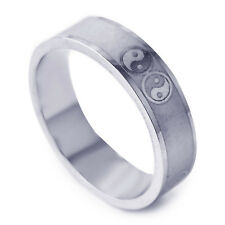 Fashion Mens silver plated Carve Mystic Taiji Pattern love Ring Size 8 9 10 11