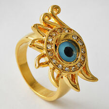 """Mystic Womens 14K gold filled Clear CZ """" Evil-Eye"""" Flower Band Ring Size 7-9"""