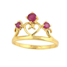 Gorgeous 18K Yellow Gold Filled Red Ruby Ladies Heart & Crown Ring,Size 6,7,8,9
