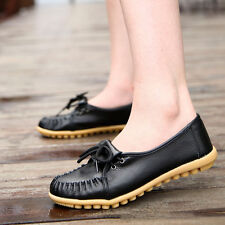 Casual Women Genuine Leather Lace Up Loafers Moccasin Flats Boat Oxfords Shoes
