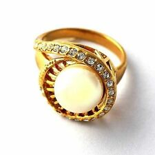 Trendy Womens Artificial Pearl CZ 14K gold filled Band Ring Size 7-9
