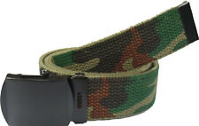 WOODLAND CAMO BELT WITH BLACK BUCKLE 100% Cotton Military Web Belts Rothco 4178