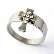 Promise Titanium Cross Crystal Womens Mens Band Rings Size 8 9 10 11 12