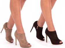 NEW WOMENS LADIES SUEDE PLATFORM MID HIGH HEEL STILETTO ANKLE BOOTS SHOES SIZE