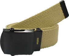 KHAKI BELT WITH BLACK BUCKLE 100% Cotton Military Web Belts Rothco 4294