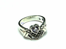 New Sterling Silver Marcasite Amethyst Heart 11mm Ring UK Size 925 Hallmarked