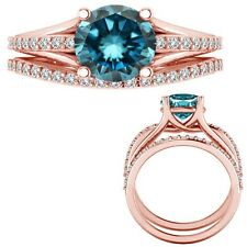 2.15 Carat Blue Diamond Beautiful Solitaire Eternity Ring + Band 14K Rose Gold