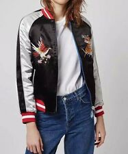 New Womens Premium Embroidered Two-In-One Reversible Yokosuka Bomber Jacket Coat