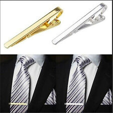 Men Metal Silver Gold Tone Simple Necktie Tie Bar Clasp Clip Clamp Pin Gift