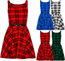 New Womens Sleeveless Belted Tartan Checked Flared Franki Skater Dress Top 8-26