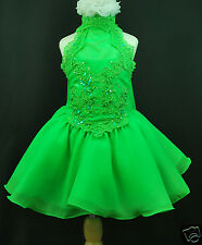 BABY,TODDLER &  GIRL PAGEANT FLOWER GIRL FORMAL PARTY DRESS GREEN 1 2 3 4 5 6 7