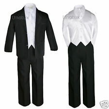 5pc White Vest Necktie + Boy Kid Teen Formal Wedding Prom Black Suit Tuxedo 5-20