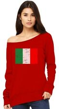 Italy Flag Vintage Style Retro Italian Off shoulder sweatshirt Gift Idea