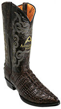 New Mens Brown Leather Crocodile Print Western Cowboy Boots