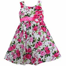 Girls Dress Pink Flower Print Cotton Party Casual  Kids Clothing Size  4-12