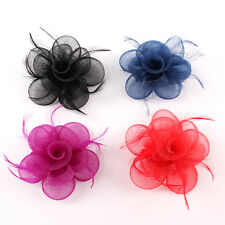 Charming Women Party Races Sinamay Feather Flower Clip Wedding Fascinator