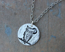 Great Horned Owl & Moon Necklace- Handmade silver charm on sterling silver chain