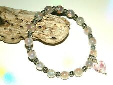 PINK HEART CHARM BRACELET TITANIUM HEIRLOOM PINK ROCK CRYSTAL GEMSTONE BEADS
