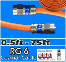 RG6 PCT F 0.5-75 Ft Orange Coaxial Coax Cable Wire Satellite HD Antenna TV lot