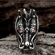 Silver Biker Dragon Ring with Red Swarovski Crystal Stainless Steel Gothic Biker